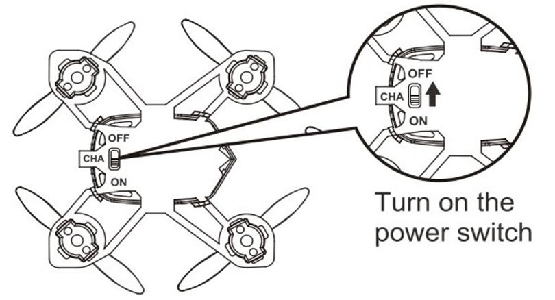 После завершения использования, пожалуйста, выключите квадрокоптер, чтобы избежать полного разряда батареи в дальнейшем.