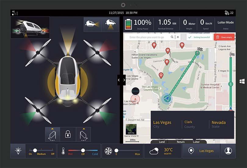 Квадрокоптер-такси Ehang управляется через простое меню в виде карты