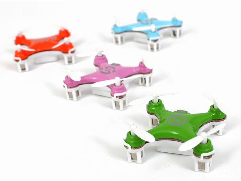Cheerson представлен квадрокоптерами различных цветовых раскрасок: зеленые, оранжевые, фиолетовые и голубые