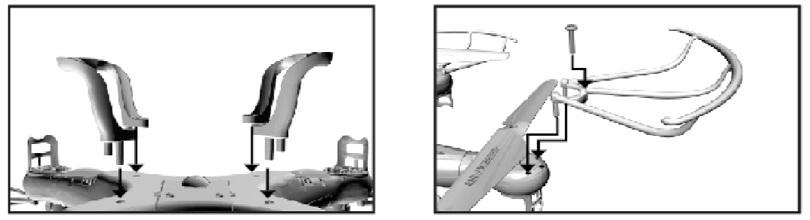 Инструкция для квадрокоптера Syma X5C объясняет процесс установки ножек и защитных решеток